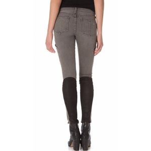 RAG & BONE Gray Rally Cargo Skinny Jeans Leather